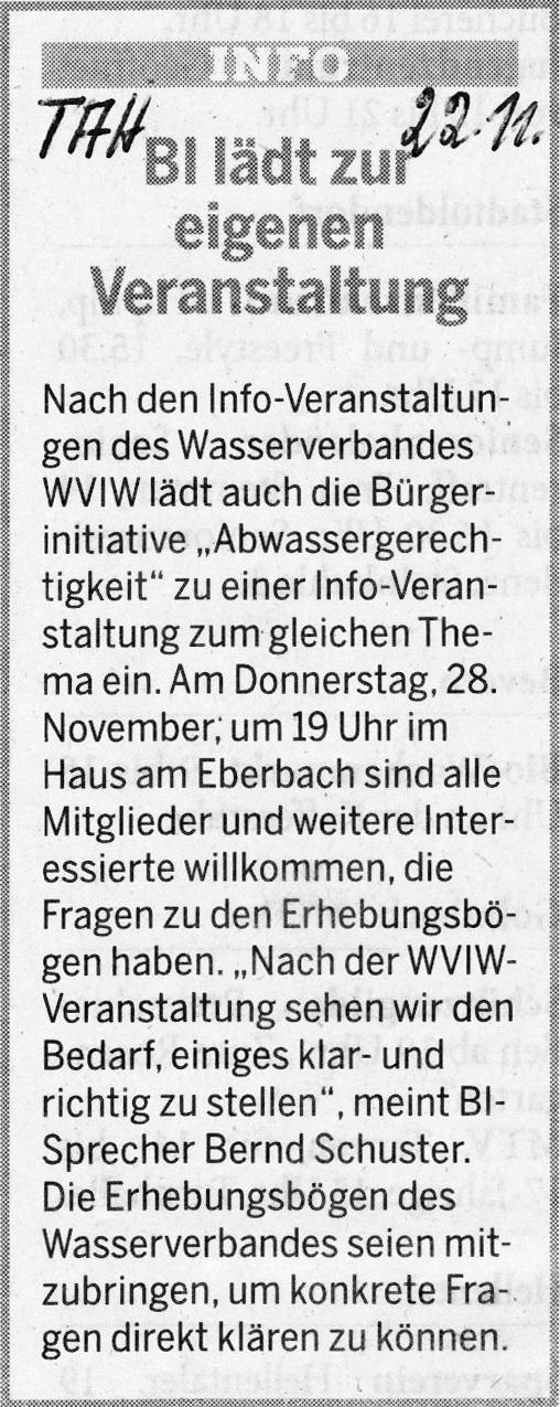 Zeitungsbericht des Täglichen Anzeiger Holzminden vom 22. November 2013