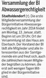 Ankündigung im Täglichen Anzeiger Holzminden vom 07. Januar 2014