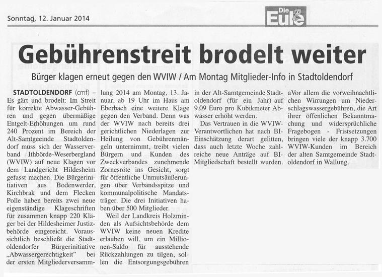 Zeitungsbericht Die Eule vom 12. Januar 2014