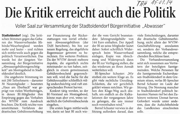 Zeitungsbericht des Täglichen Anzeiger Holzminden vom 15. Januar 2014