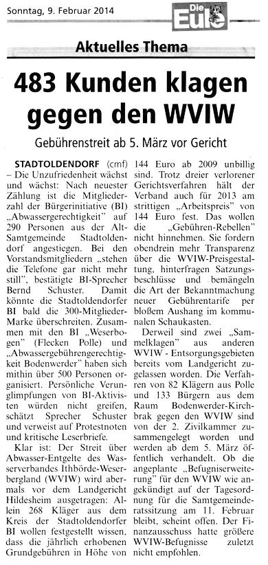 Zeitungsbericht Die Eule vom 09. Februar 2014