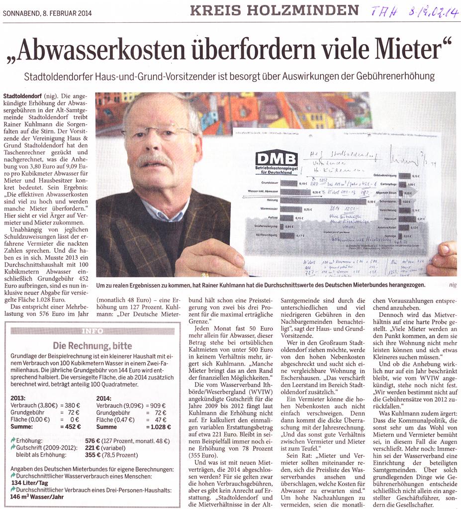Zeitungsbericht im Täglichen Anzeiger Holzminden vom 08. Februar 2014