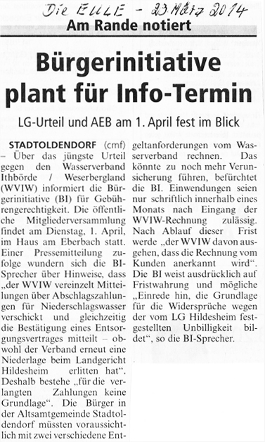Zeitungsbericht Die Eule vom 23. März 2014