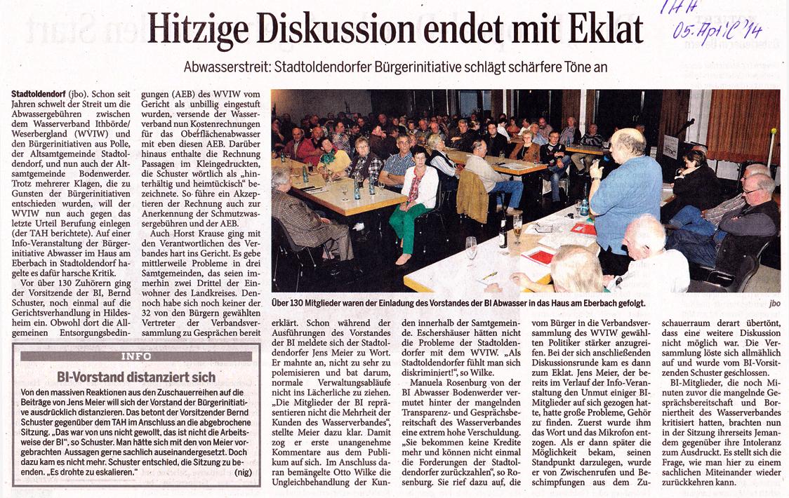 Zeitungsbericht im Täglichen Anzeiger Holzminden vom 05. April 2014