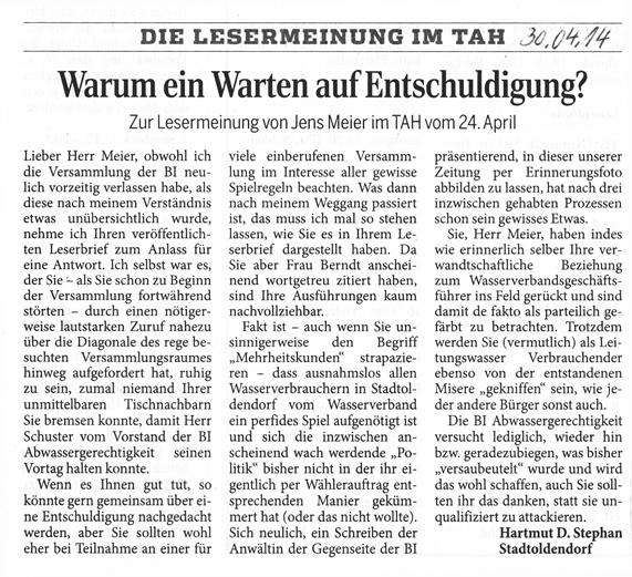 Leserbrief im Täglichen Anzeiger Holzminden vom 30. April 2014