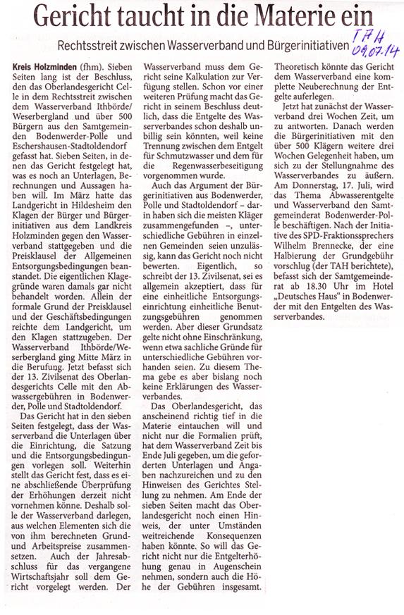 Zeitungsbericht im Täglichen Anzeiger Holzminden vom 09. Juli 2014