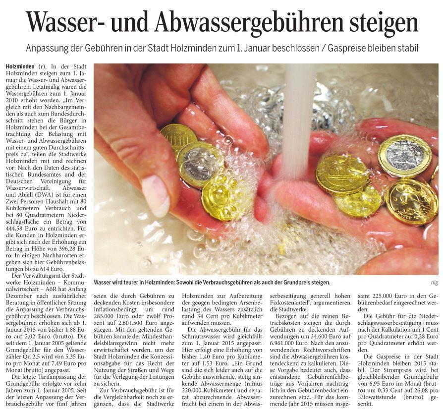 Zeitungsbericht im Täglichen Anzeiger Holzminden vom 18. Dezember 2014