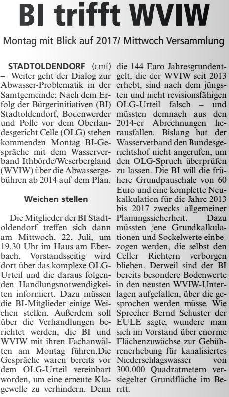 Zeitungsbericht Die Eule vom 18. Juli 2015