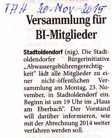 Ankündigung im Täglichen Anzeiger Holzminden vom 20. November 2015