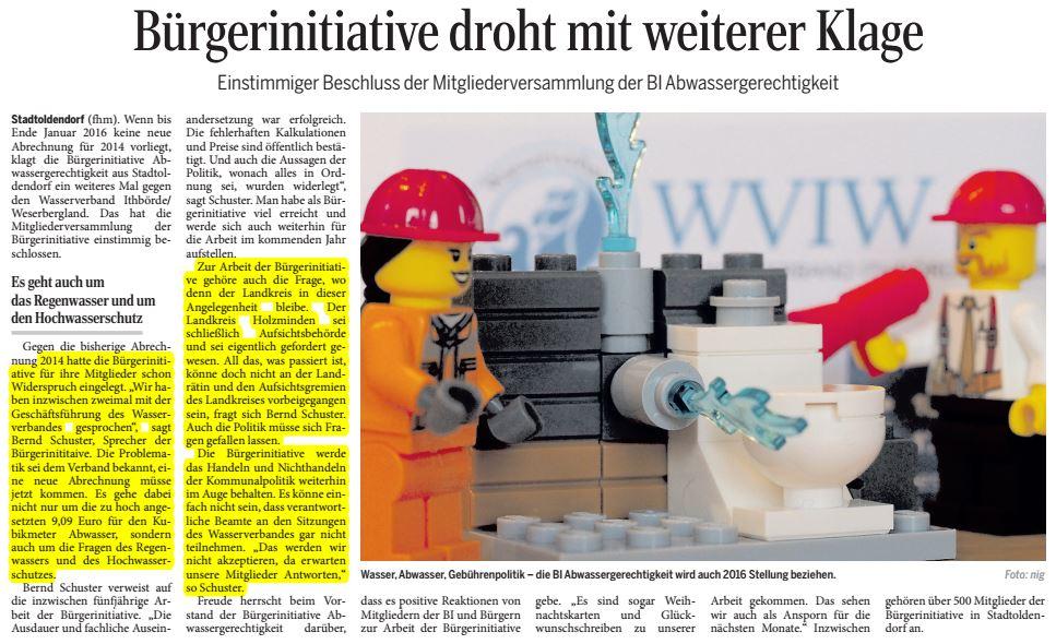 Zeitungsbericht im Täglichen Anzeiger Holzminden vom 31. Dezember 2015