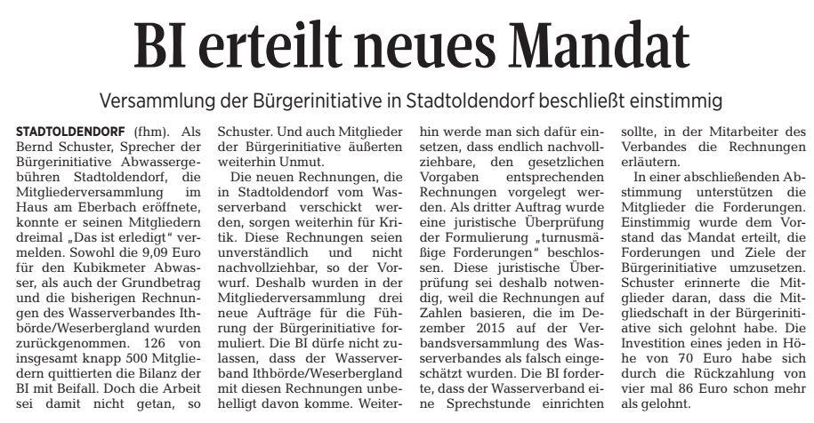 Zeitungsbericht im Täglichen Anzeiger Holzminden vom 19. Mai 2016