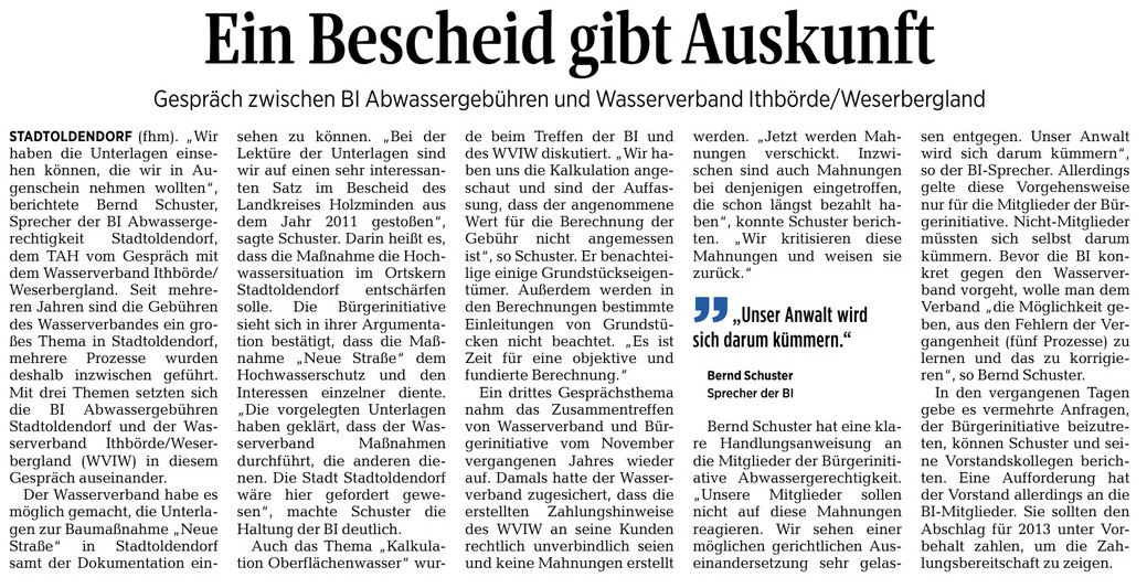 Zeitungsbericht im Täglichen Anzeiger Holzminden vom 23. August 2016